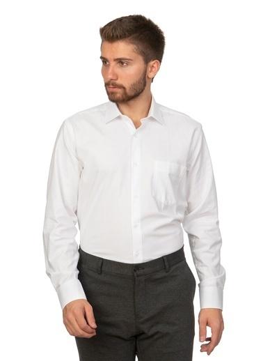 White Stone Oxford Pamuklu Regular Fit Klasik Kesim Cepli Gömlek Beyaz Beyaz
